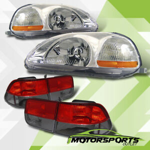 For 1996 1997 1998 Honda Civic 2dr Coupe Chrome Headlights Red Smoke Tail Lamps