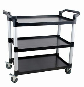 Three tier Thermoplastic Service Cart Restaurant Bus Cart