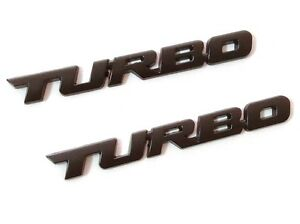 2pcs Metal Matte Black Tubro Badge Emblem Decal Sticker Of Turbo Charged Engine