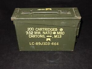 US Military NATO Empty Ammo Metal Box 200 Cartridges 7.62mm M80