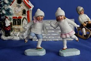 Rare Heubach Hertwig Bisque Ice Skaters Snowed Porcelain Figurines Book Examples