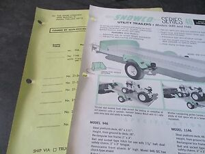 Allis Chalmers Snowco Series 46 Utility Trailers Models 946 And 1146 Literature