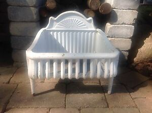 Antique Victorian Cast Iron Fireplace Insert Fire Box Grate White Shell Detail