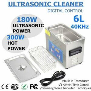 6l Qt 380w Digital Heated Industrial Ultrasonic Parts Cleaner W Timer