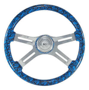 4 Spoke 18 Blue skulls Steering Wheel 3 hole For Freightliner Peterbilt Kw