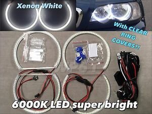 Led Smd 6000k Angel Eye Halo Ring Kit Xenon White For 00 03 E46 2d No Projector