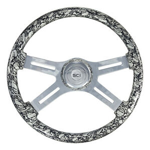 4 Spoke 18 Silver skulls Steering Wheel 3 hole Freightliner Peterbilt Kw