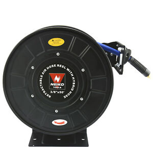Air Compressor Hose Reel 3 8 X 50 300 Psi Secure Lock Retractable Easy Mount