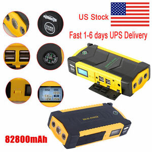 82800mah 4usb Lcd Display Car Jump Starter Emergency Booster Power Bank Battery