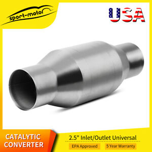 Universal Spun Catalytic Converter 2 5 Inch Inlet Outlet 4 Round Weld On