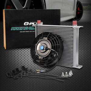Universal 30 Row Engine Transmission 10an Oil Cooler 7 Electric Fan Kit