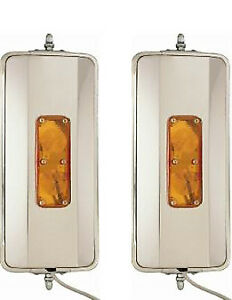 One Pair Of 7 X 16 West Coast Mirrors Heated Lights Truck Mirrors
