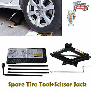 Repair Combination Of Scissor Jack 2t Black Spare Tire Tool Kit For Chevy Gmc