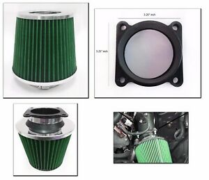 Green Cold Air Intake Filter Maf Adapter For 2003 2006 Nissan 350z 3 5l V6