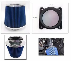 Blue Cold Air Intake Filter Maf Adapter For 2000 2003 Nissan Maxima 3 0l 3 5l