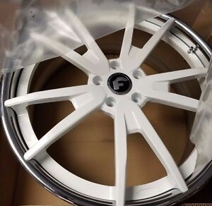 21 22 Forgiato F2 01 Ecl Concaved 3 piece Wheels white Corvette C7 Stingray