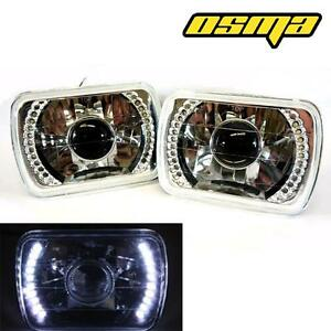 7x6 H6054 Semi Glass Head Light Headlight Led Glass Housing Diamond Lamp Pair