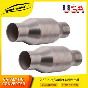 Two 410250 2 5 Universal High Flow Performance Catalytic Converter Racing Cat