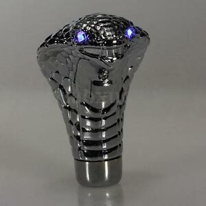 Universal Chrome Car Manual Gear Shift Knob Shifter Cobra Snake Blue Led Eye Us