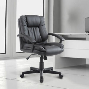 Adjustable Faux Leather Mid back Executive Office Chair Home Office Furniture Bk
