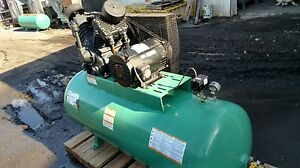Used 10 hp Speedaire Piston Compressor 36 cfm 120 gal Horiz Tank 3 ph W Starter