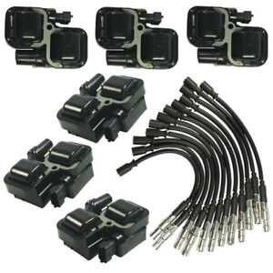 New Ignition Spark Coils With Plug Wire Sets For Mercedes Benz C Cl Clk Ml Class