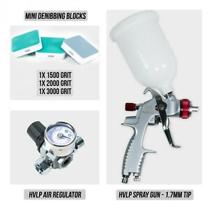 Hvlp Spray Gun 1 7mm Tip Hvlp Air Regulator Mini Denibbing Blocks Package