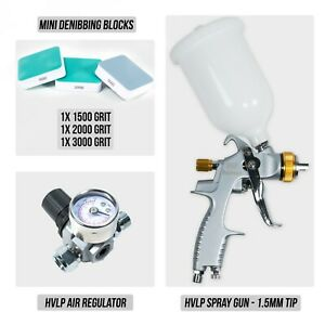 Hvlp Spray Gun 1 5mm Tip Hvlp Air Regulator Mini Denibbing Blocks Package