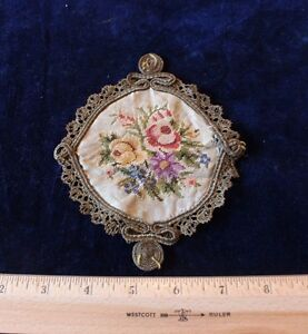 French 19thc 1870 Petit Point On Silk Gold Metallic Lace Trim Applique Dolls