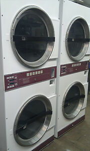 Laundromat Commercial Double Dryer In White As Is