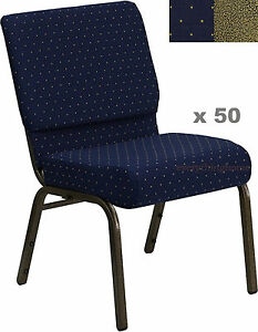 Quantity Of 50 21 Wide Stacking Blue Gold Dot Church Chairs 4 Seat 800 Lb Wt
