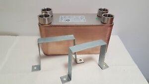 New 50 Plate Water To Water Brazed Plate Heat Exchanger 1 fpt Ports W brackets