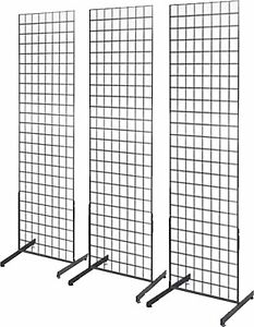 Gridwall Panel Tower With T base Floorstanding Display Kit 3 pack Black 2 x5