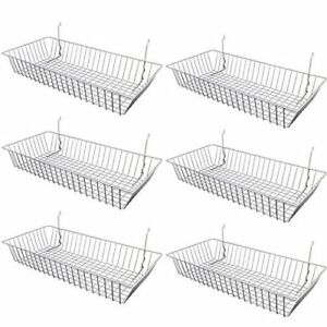 6 Pcs 24 X 12 X 4 Baskets For Gridwall slatwall pegboard Chrome