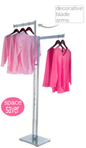 2 Way Clothing Rack With Two Straight Blade Arms Chrome