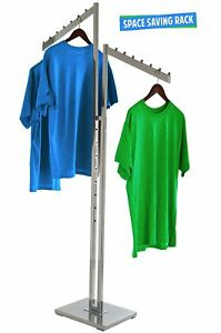 2 way Clothing Rack Slant Arms Adjustable Made Of Chrome Rectangular Tubing