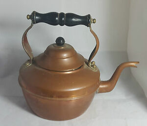 Beautiful Antique Victorian Large Copper Kettle Height 22 Cm