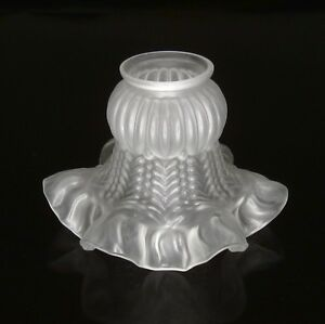 Vintage French Frosted Glass Lamp Ceiling Shade Ruffled Edges