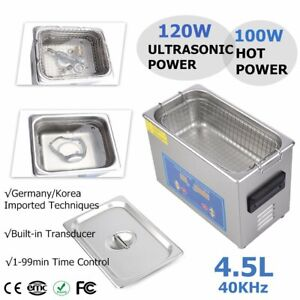 Pro Stainless Steel 4 5l Liters 120w Digital Ultrasonic Cleaner Heater Timer Hl