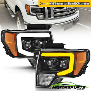 Sequential Drl 2009 2014 Ford F 150 Pickup Polished Black Projector Headlights