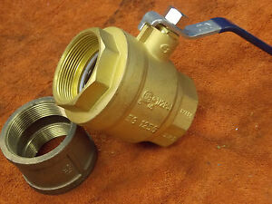 Nibco T fp600a 2 Inch Full Port Brass Ball Valve Lead Free And 2 Inch Coupler