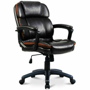 New Pu Leather Ergonomic Mid back Executive Computer Desk Task Office Chair