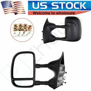 Towing Manual Side View Mirrors For 99 16 Ford Super Duty Truck Tow Mirrors Pair