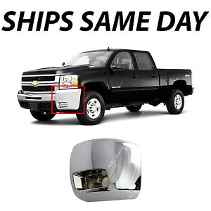 Chrome Drivers Front Left Bumper End For 2007 2010 Chevy Silverado Hd W Fog