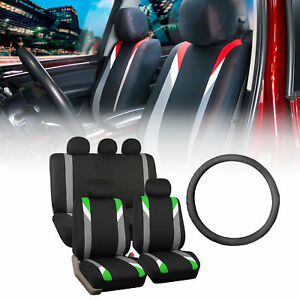 Racing Car Seat Covers For Auto With Leather Steering Wheel Green Black