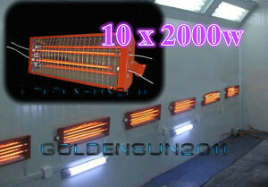 10 Sets 2kw Spray Baking Booth Infrared Paint Curing Lamp Heating Light Heaters