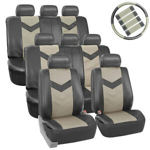 3 Row Car Seat Covers Leather 8 Seater Suv Van Steering Belt Pads 2 Tone Gray