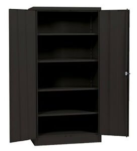 Metal Storage Cabinet Steel Locking With Doors Lock Garage Shop 72 Tall Black