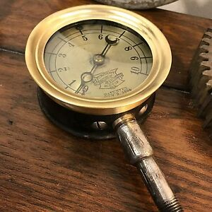 rare 1894 1906 Patents Crosby Steam Gauge With Original Sticker On Back