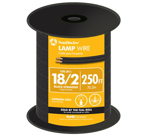 Electric Lamp Copper Wire Cord 18 Gauge 250 Ft Conductor Pvc Insulation Black